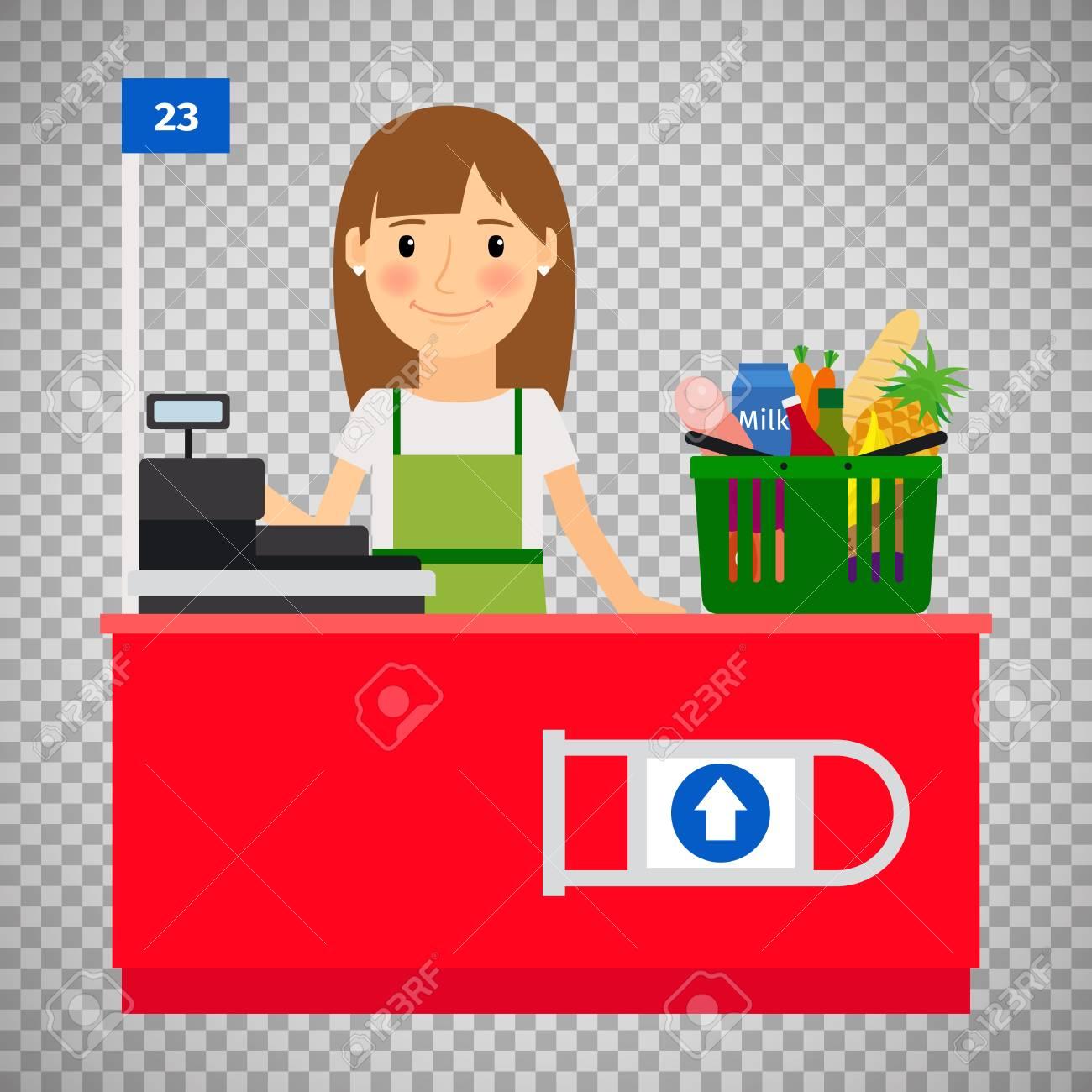 Cashier clipart transparent. Lady on background station