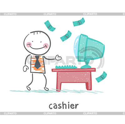 Cashier clipart vendor. Stock photos and vektor