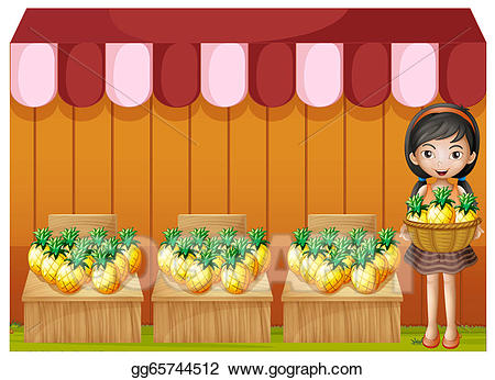 Cashier clipart vendor. Vector art a girl