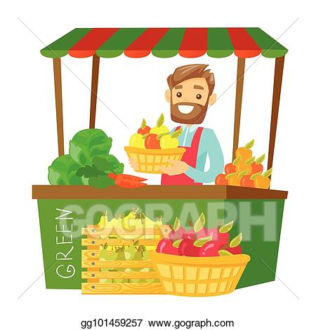 Cashier clipart vendor. Eps illustration caucasian street