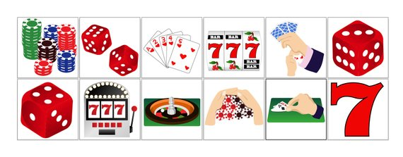 Games and printable gambling. Casino clipart card game