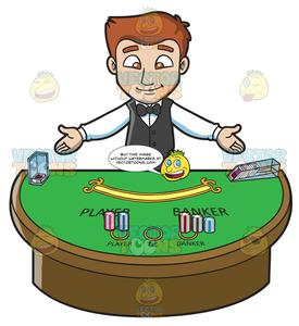 Casino clipart cartoon. A welcoming male dealer