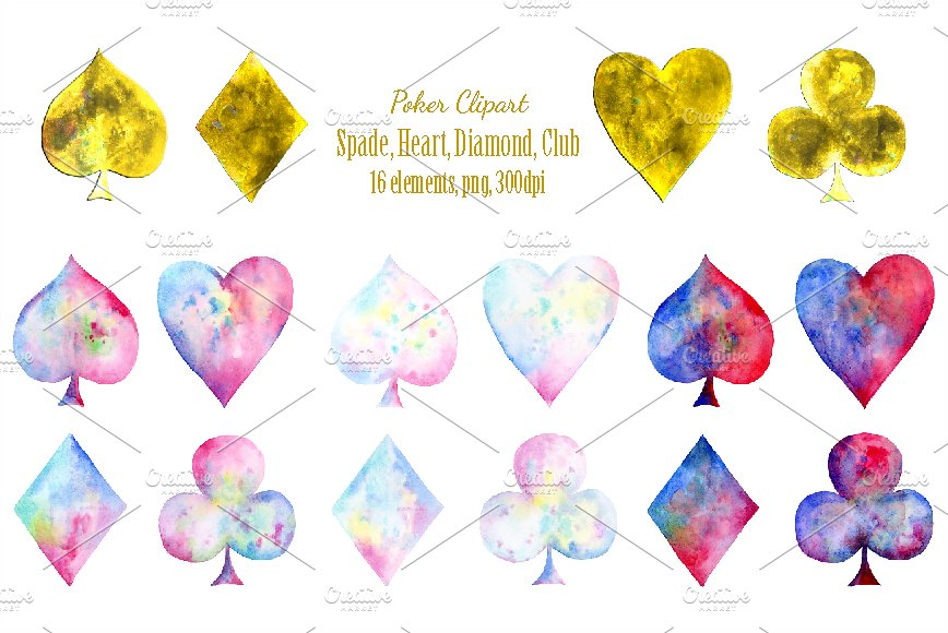 Watercolor playing cards illustrations. Casino clipart deck card
