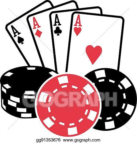 Vector stock four aces. Casino clipart deck card