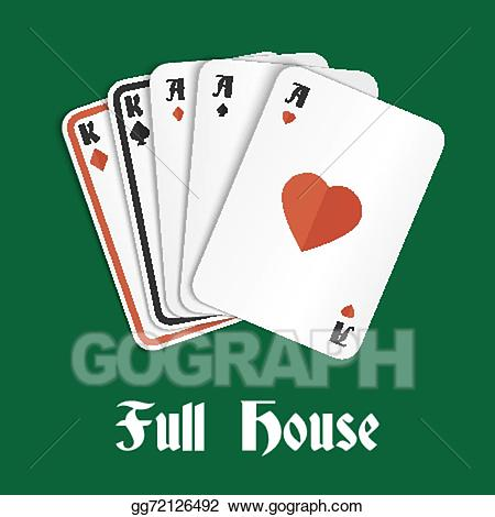 Casino clipart poker hand. Vector illustration full house