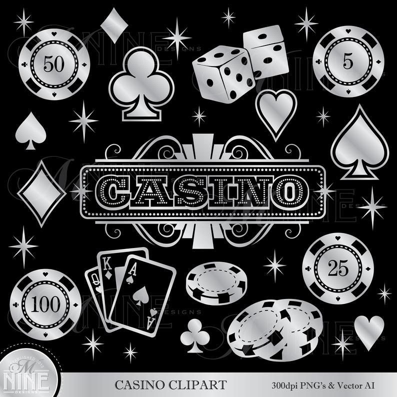 Casino clipart printable. Silver clip art accents