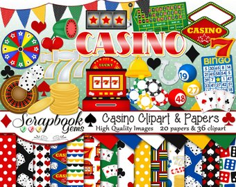 Etsy and papers kit. Casino clipart slot machine