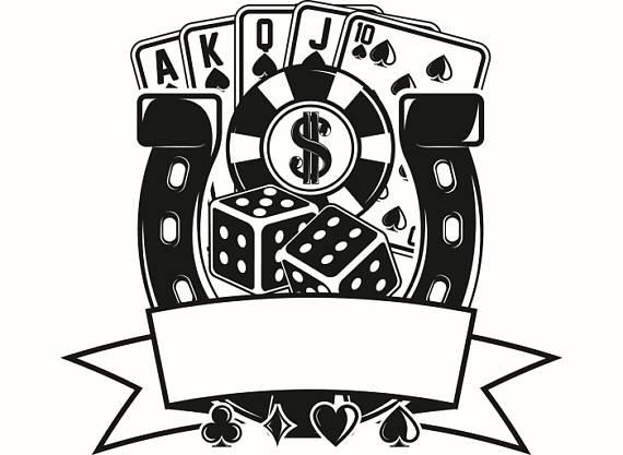 Poker logo chips dice. Casino clipart svg