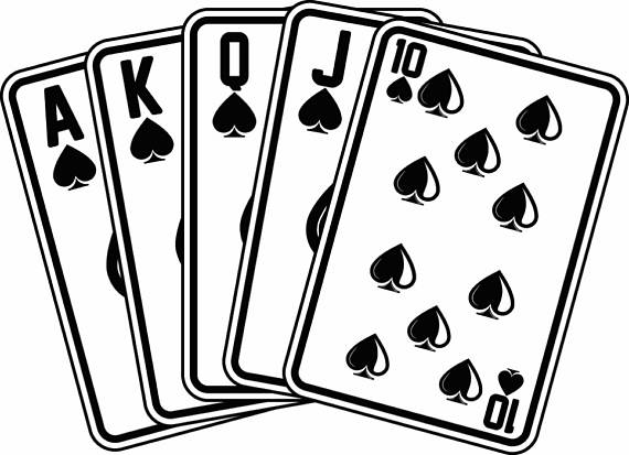 Royal flush playing cards. Casino clipart svg