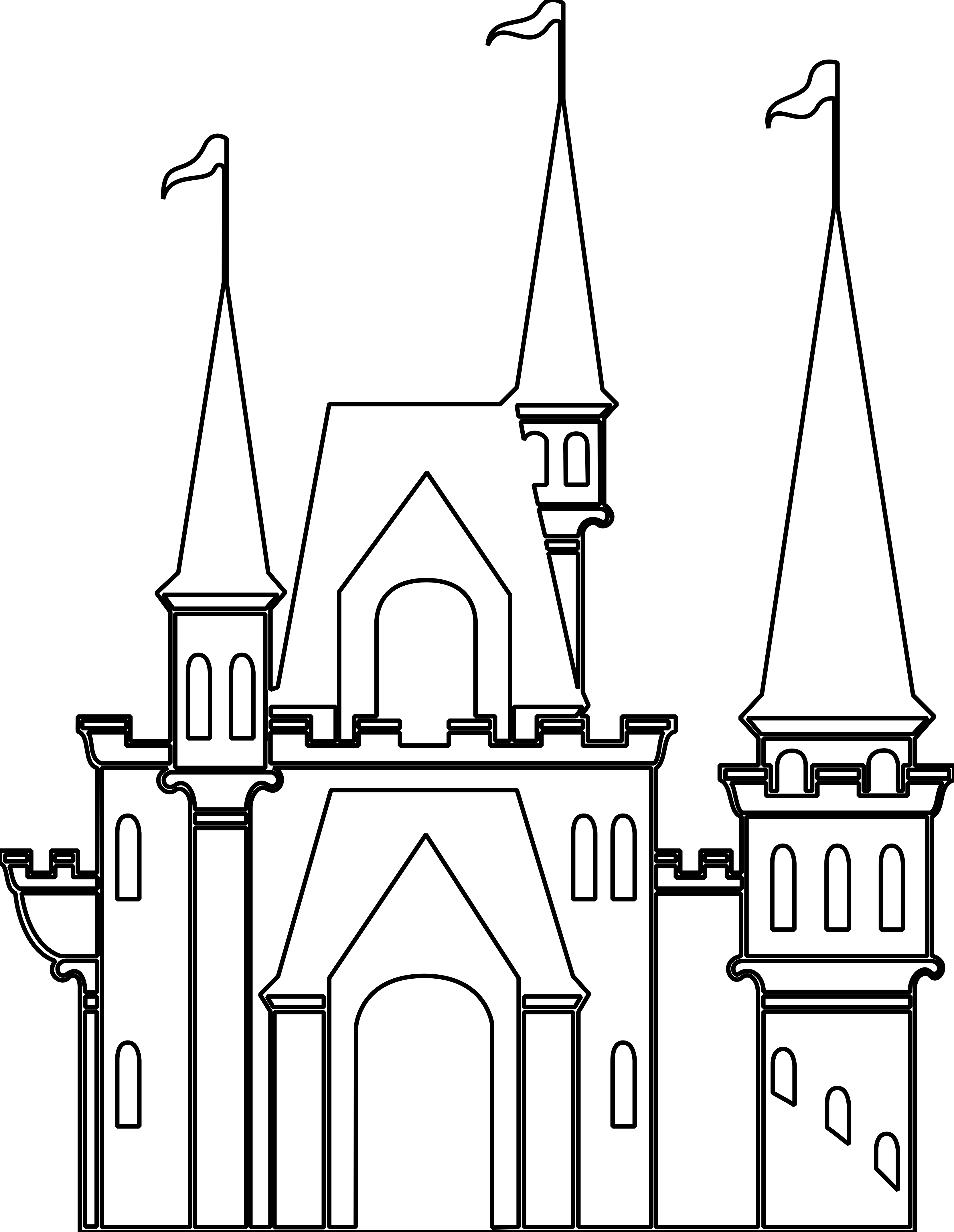 . Clipart castle black and white