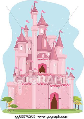 Vector stock illustration gg. Clipart castle pink