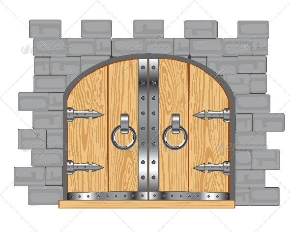Gates in fortress ideas. Clipart castle doors