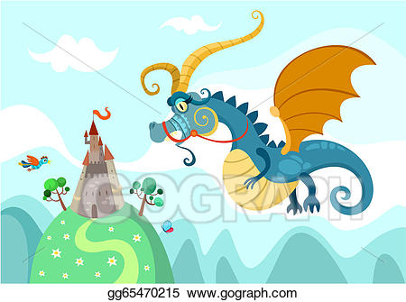 Eps illustration with vector. Clipart castle dragon