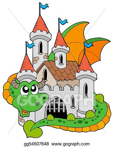 Clipart castle dragon. Stock illustration with old
