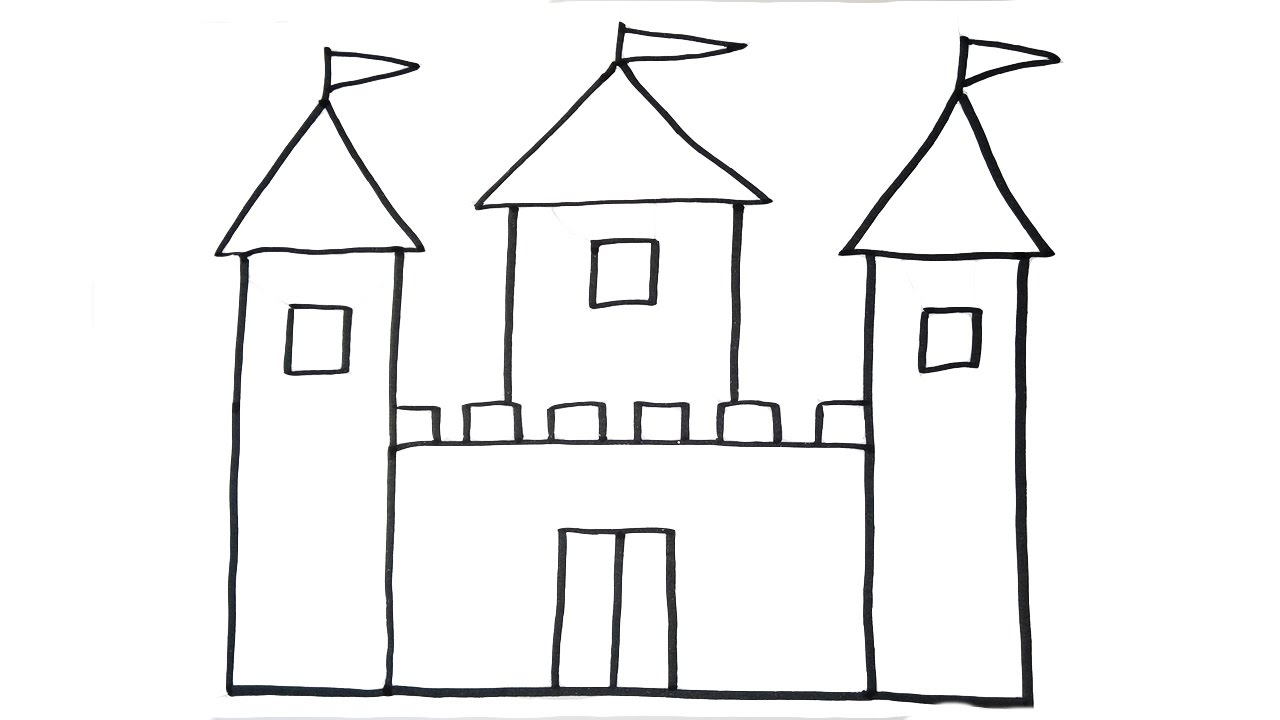 Pencil and in color. Clipart castle easy