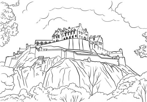 Castle clipart edinburgh castle. Coloring page free printable
