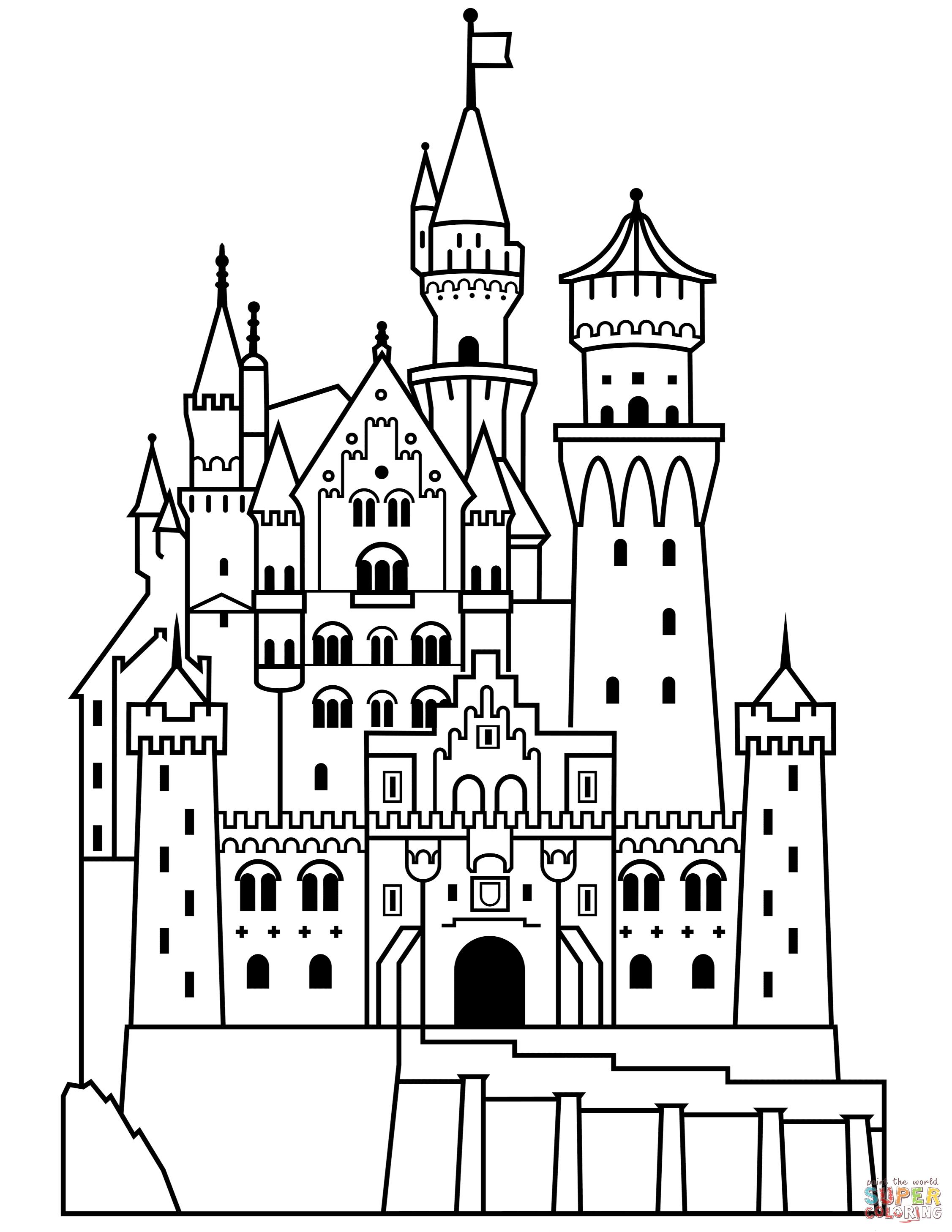 Neuschwanstein coloring page free. Castle clipart edinburgh castle