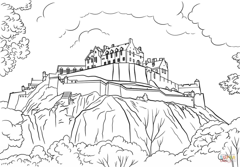 Coloring page free printable. Castle clipart edinburgh castle