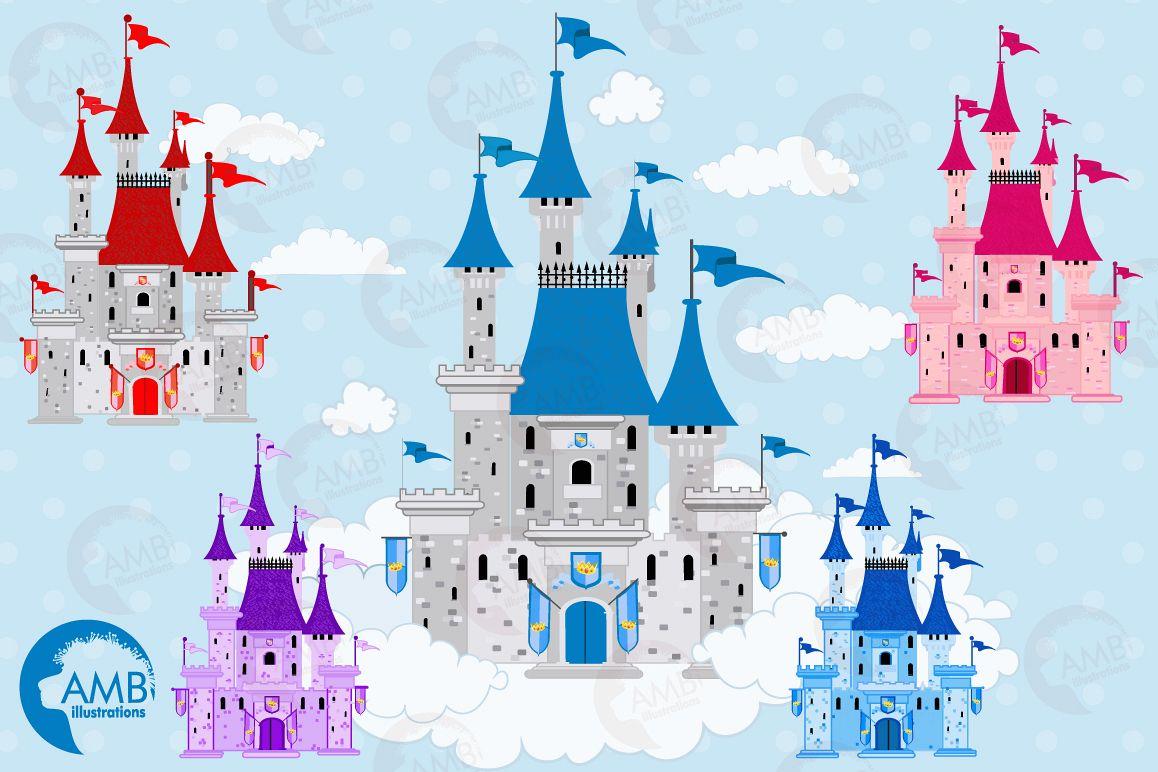 Castle graphics ill design. Fairytale clipart casle