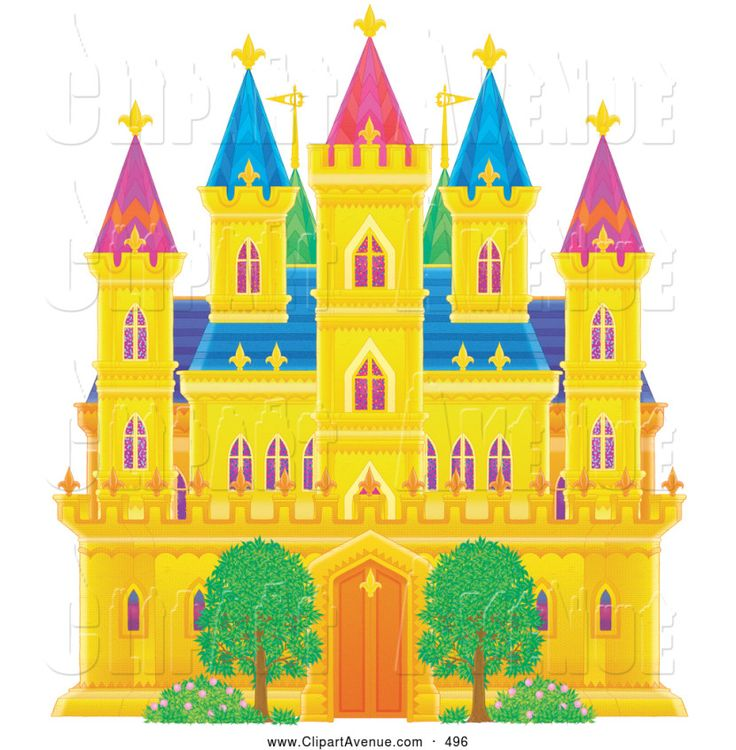 Pencil and in color. Clipart castle fancy