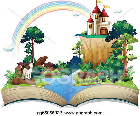 Clipart castle forest. Vector a book with
