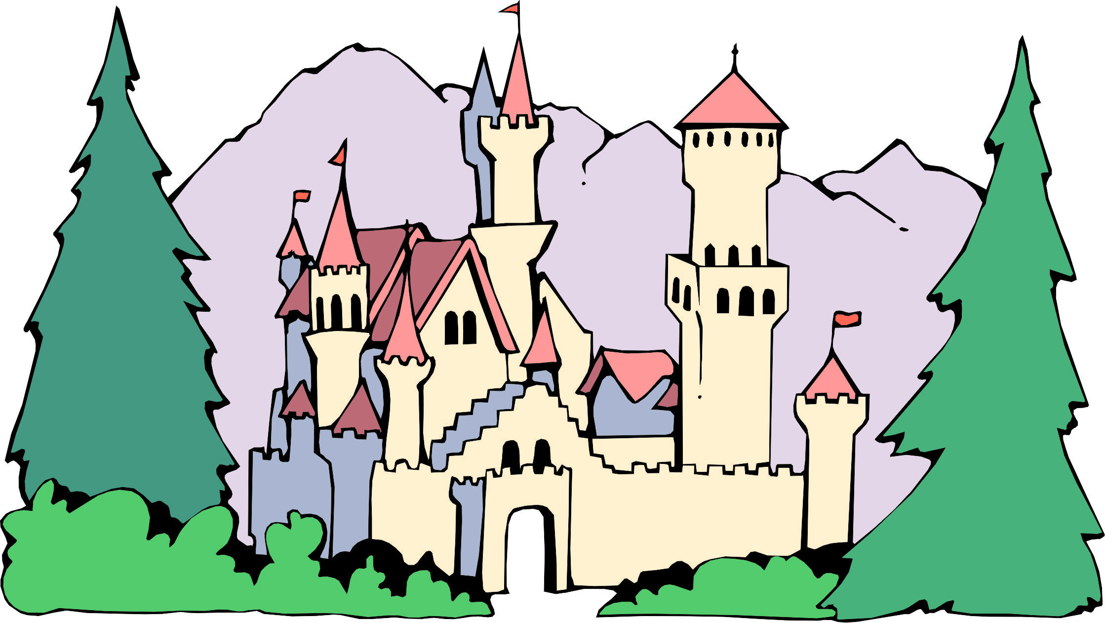 Cartoon in the once. Clipart castle forest