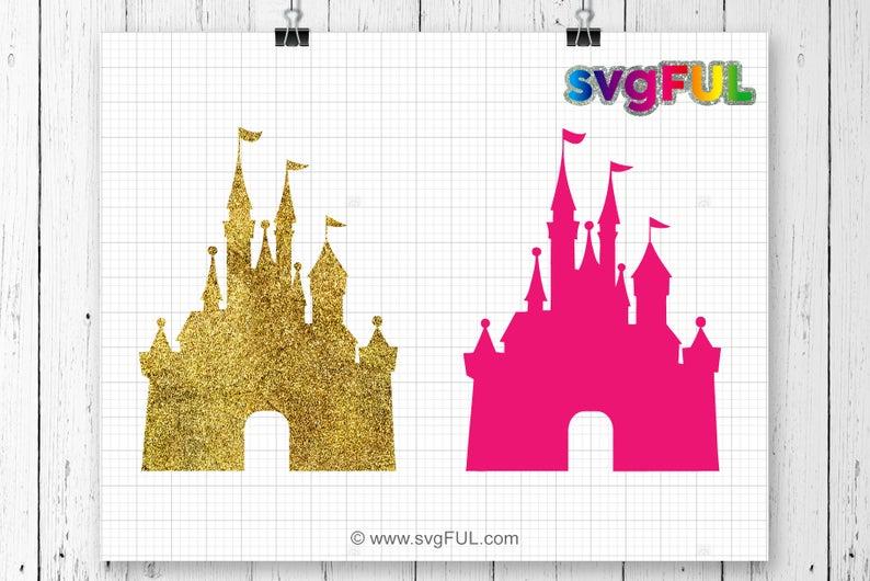 Svg mouse monogram princess. Castle clipart gold glitter