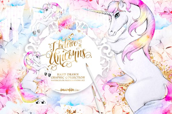 Castle clipart gold glitter. Cute unicorn watercolor hydrangea