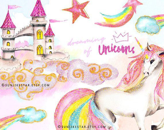 Castle clipart gold glitter. Unicorn watercolor set glam