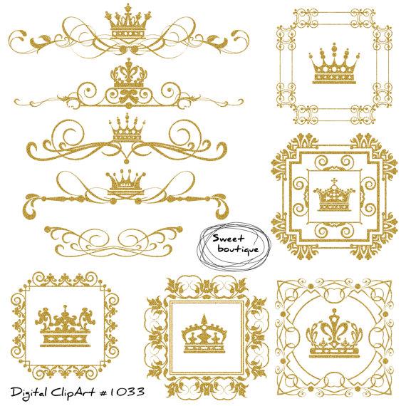Frame crown . Castle clipart gold glitter