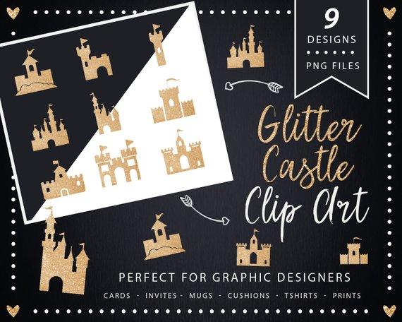 Clip art palace silhouette. Castle clipart gold glitter