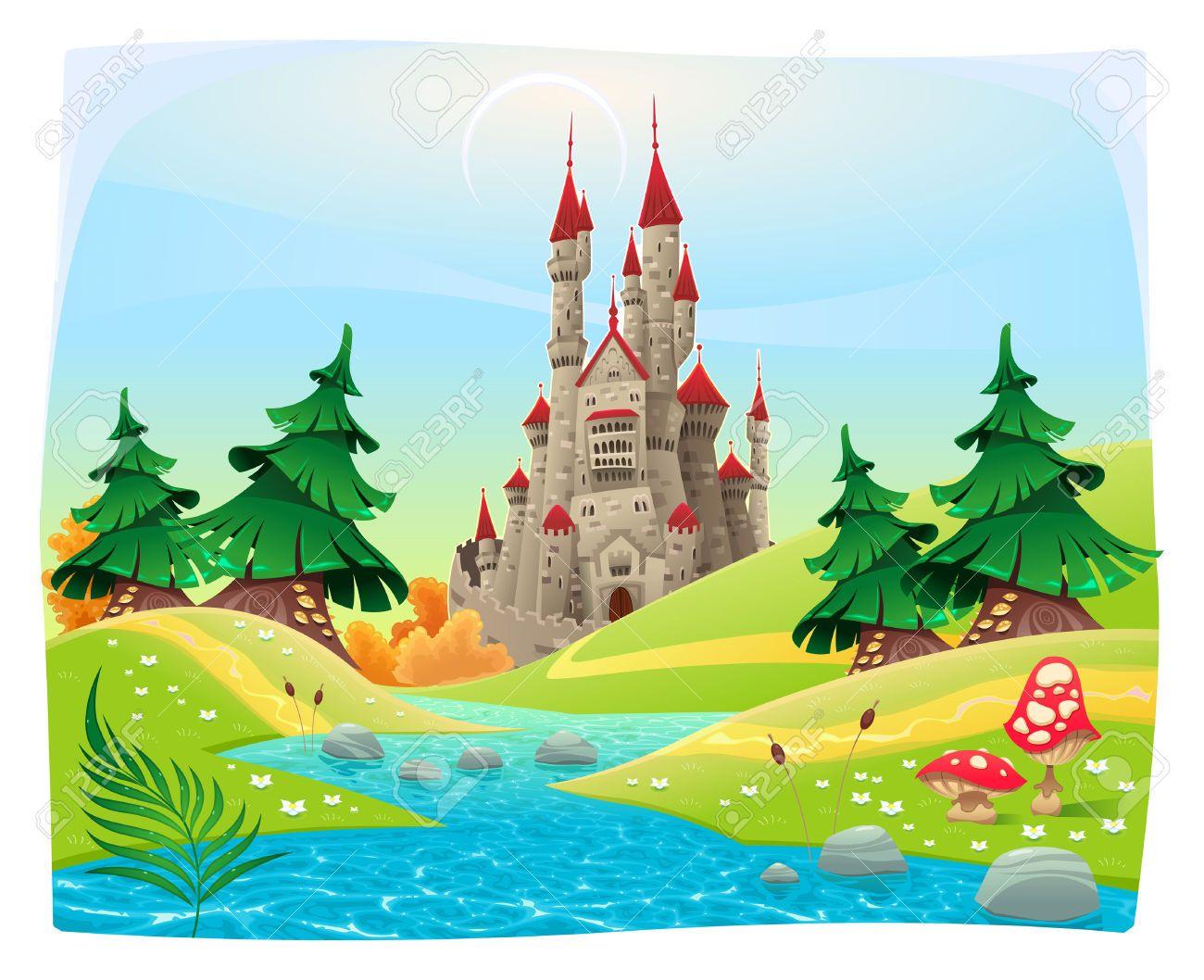 Clipart castle scenery. Mythological landscape with medieval
