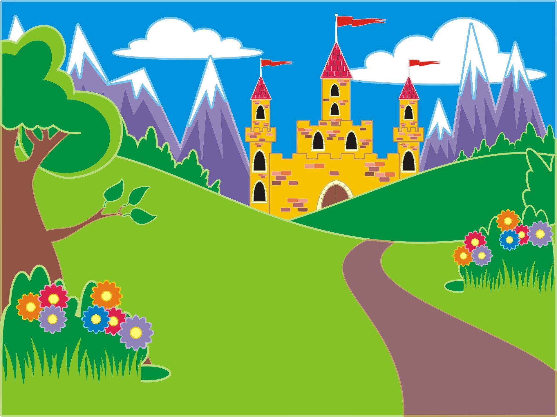 Fairytale clipart scenery. Fantasy castle landscape design