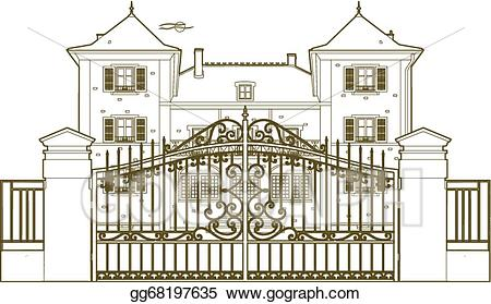 Castle clipart mansion. Vector stock design behind