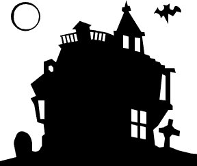 Castle clipart mansion. Haunted silhouette at getdrawings