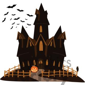 Castle clipart mansion. Spooky haunted