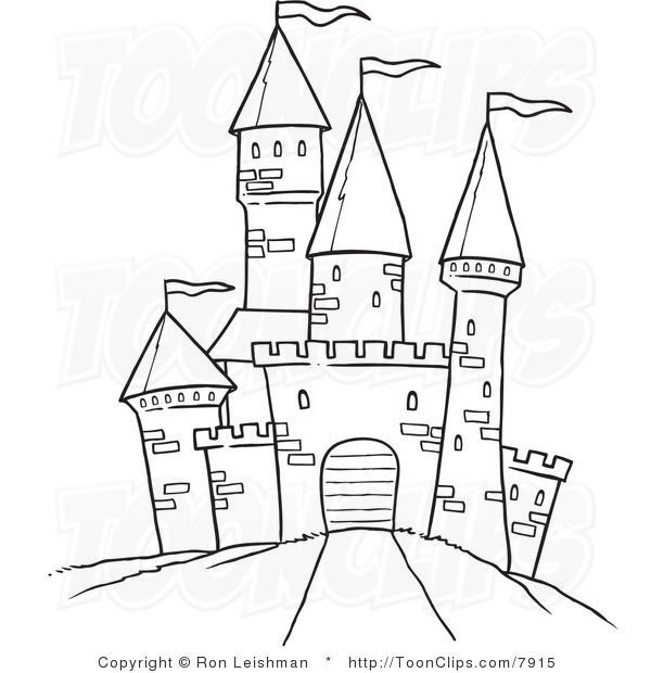 Draw white line of. Clipart castle drawing