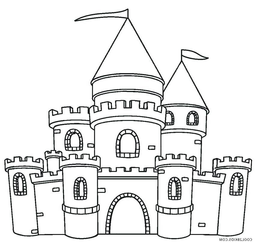 Coloring page . Clipart castle colour