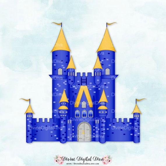 Clipart castle royal castle. Blue gold fairytale turrets