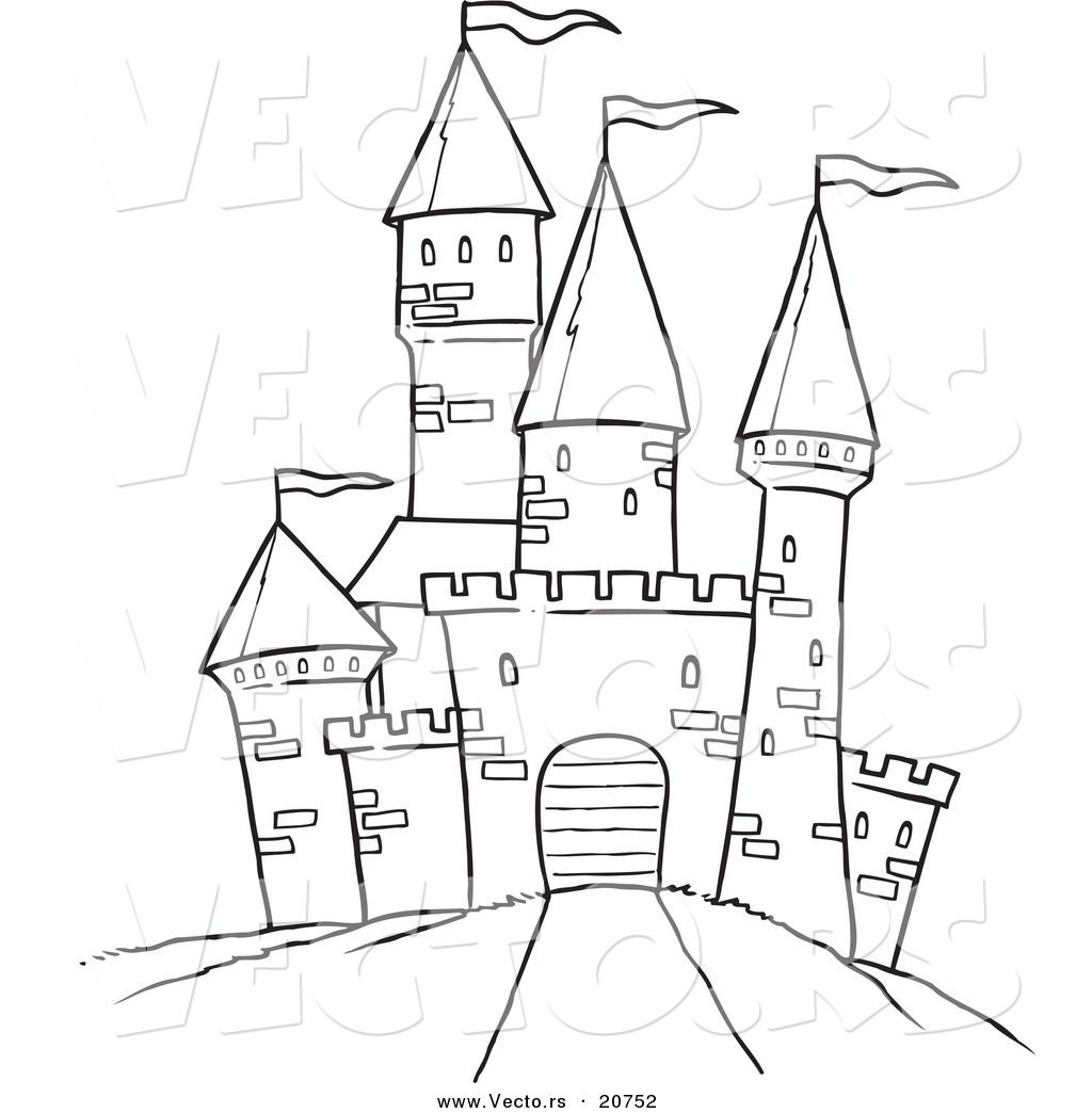 Clipart castle outline. Printable black and white