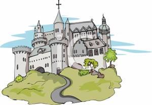 A large on hill. Castle clipart stone castle