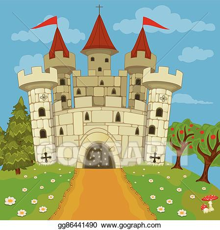 Vector medieval on hill. Clipart castle stone castle