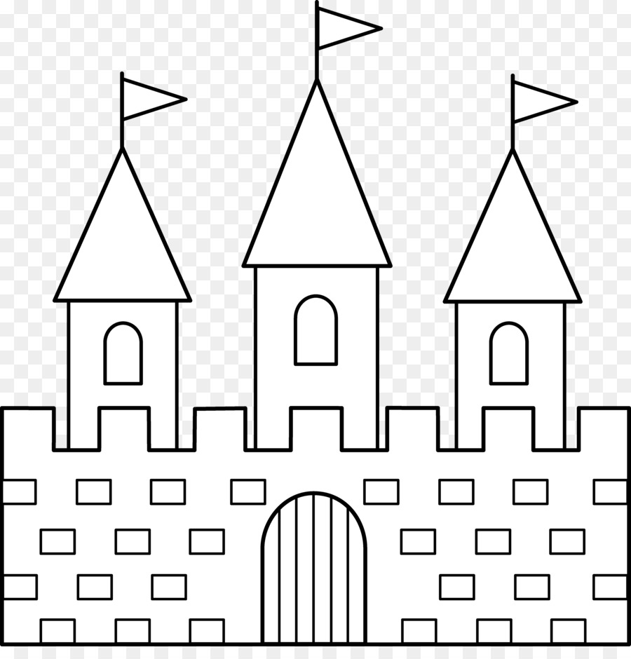 Line art drawing clip. Clipart castle black and white