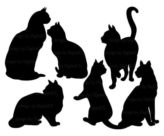 Halloween black silhouette pattern. Cat clipart classy