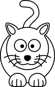 Lemmling cartoon black white. Cat clipart colour