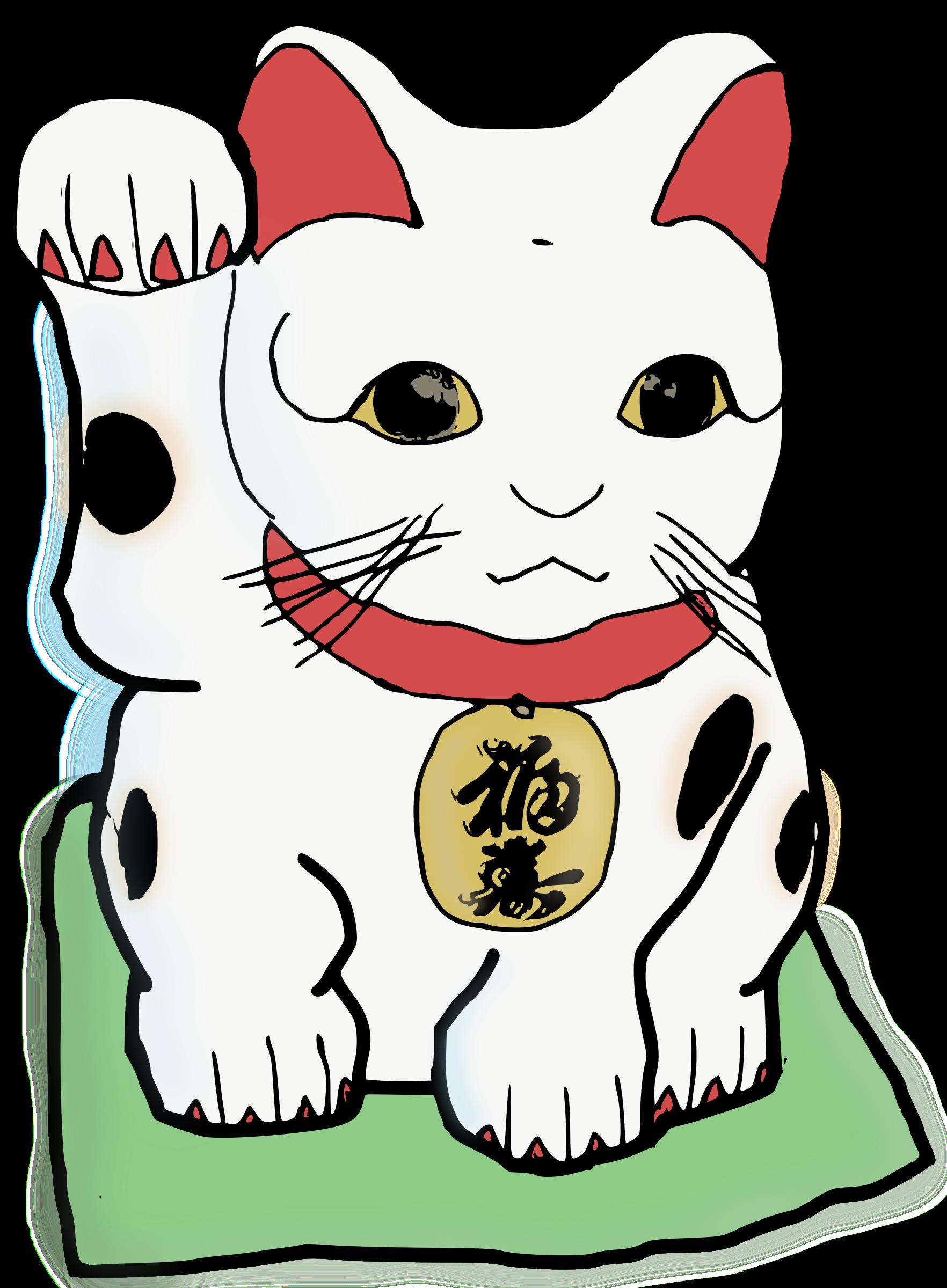 Maneki neko colour big. Money clipart cat
