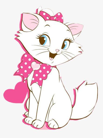 Pink animal illustration png. Cat clipart colour