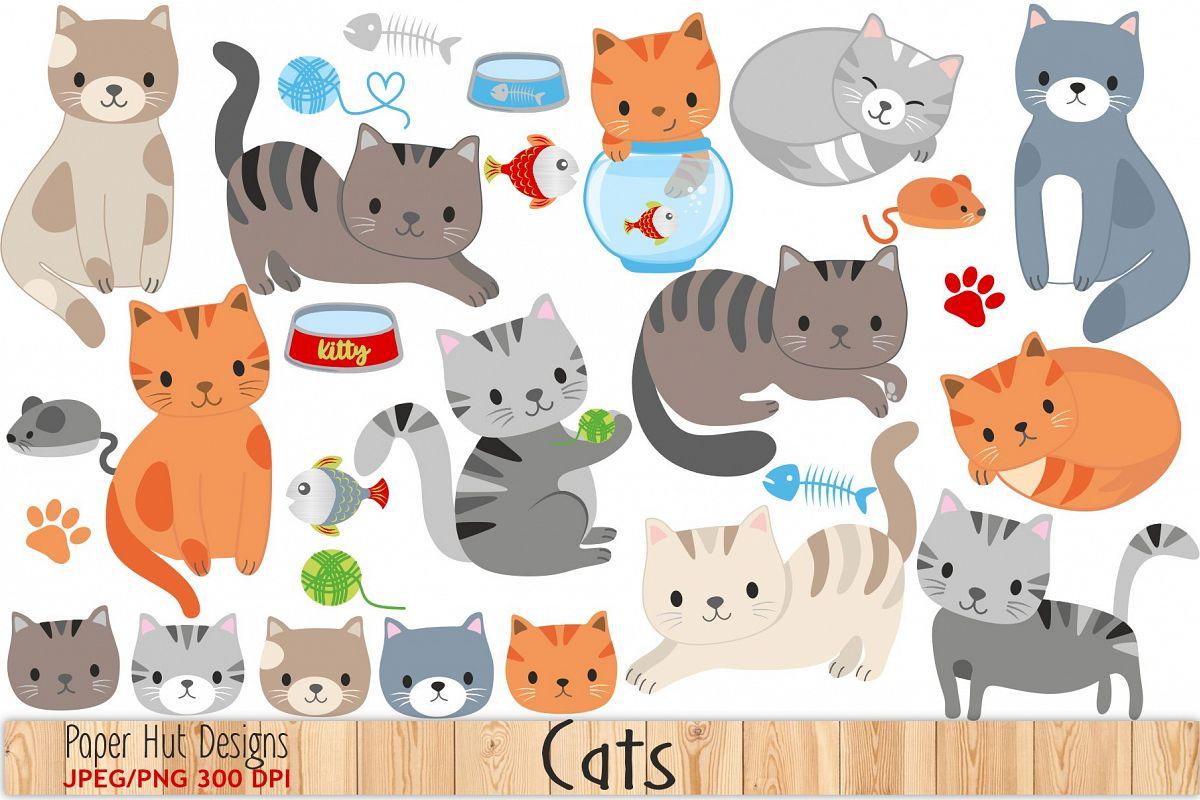 Cat clipart cute. By paperhutdesigns design bundles