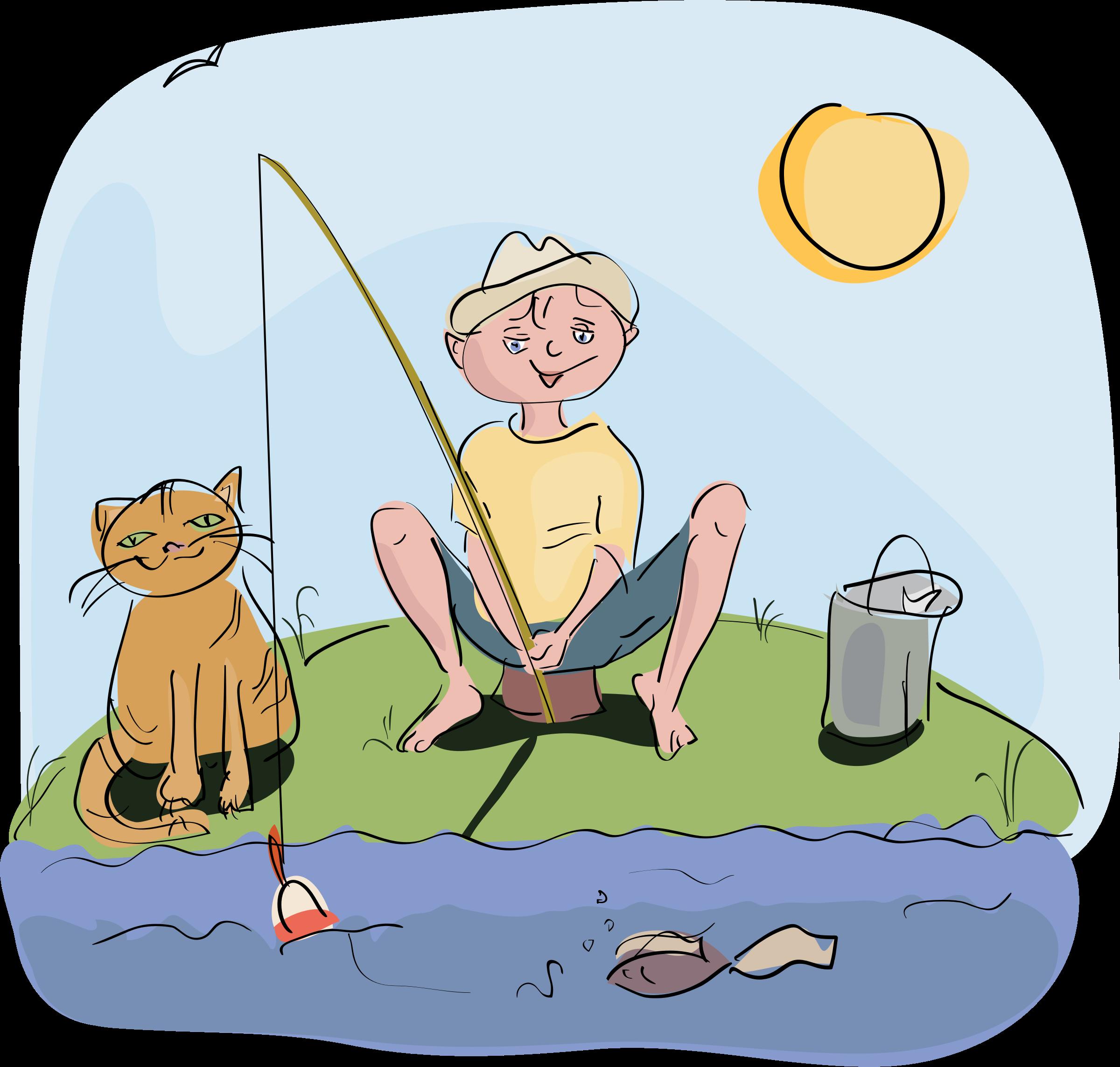 Boy and fishing big. Clipart kid cat