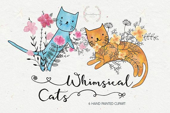 Cat clipart floral. Whimsical cats instant download